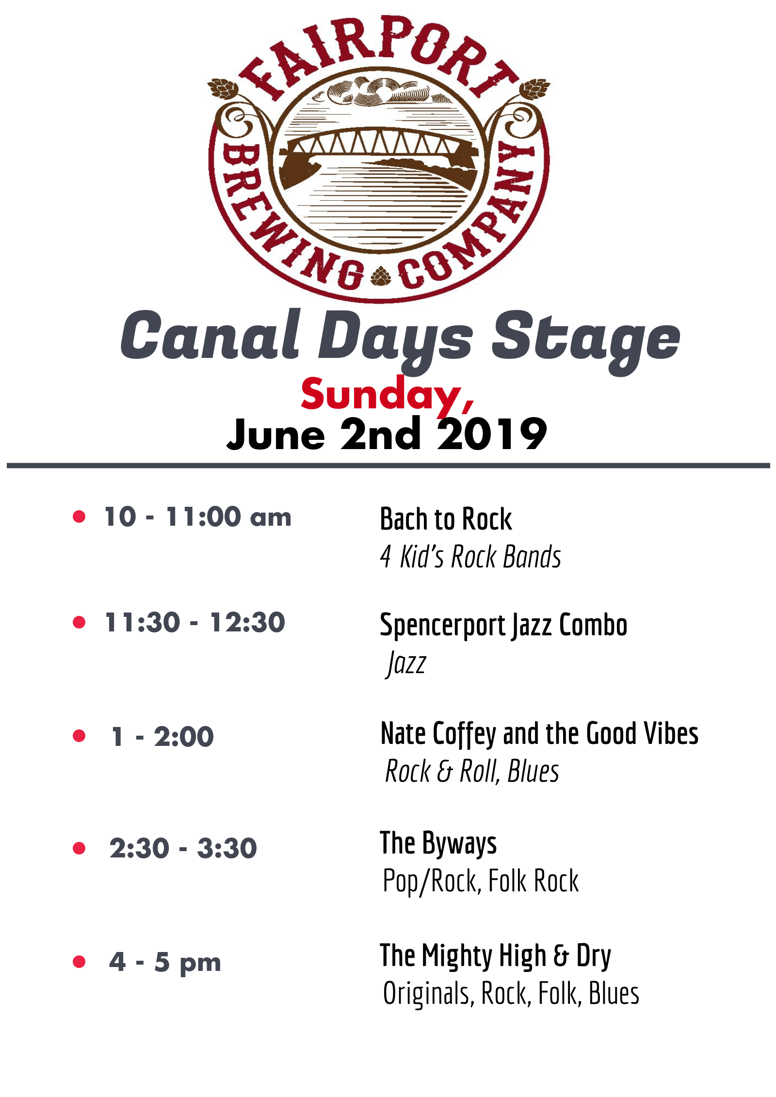 FBC's Canal Days Stage - Sunday!