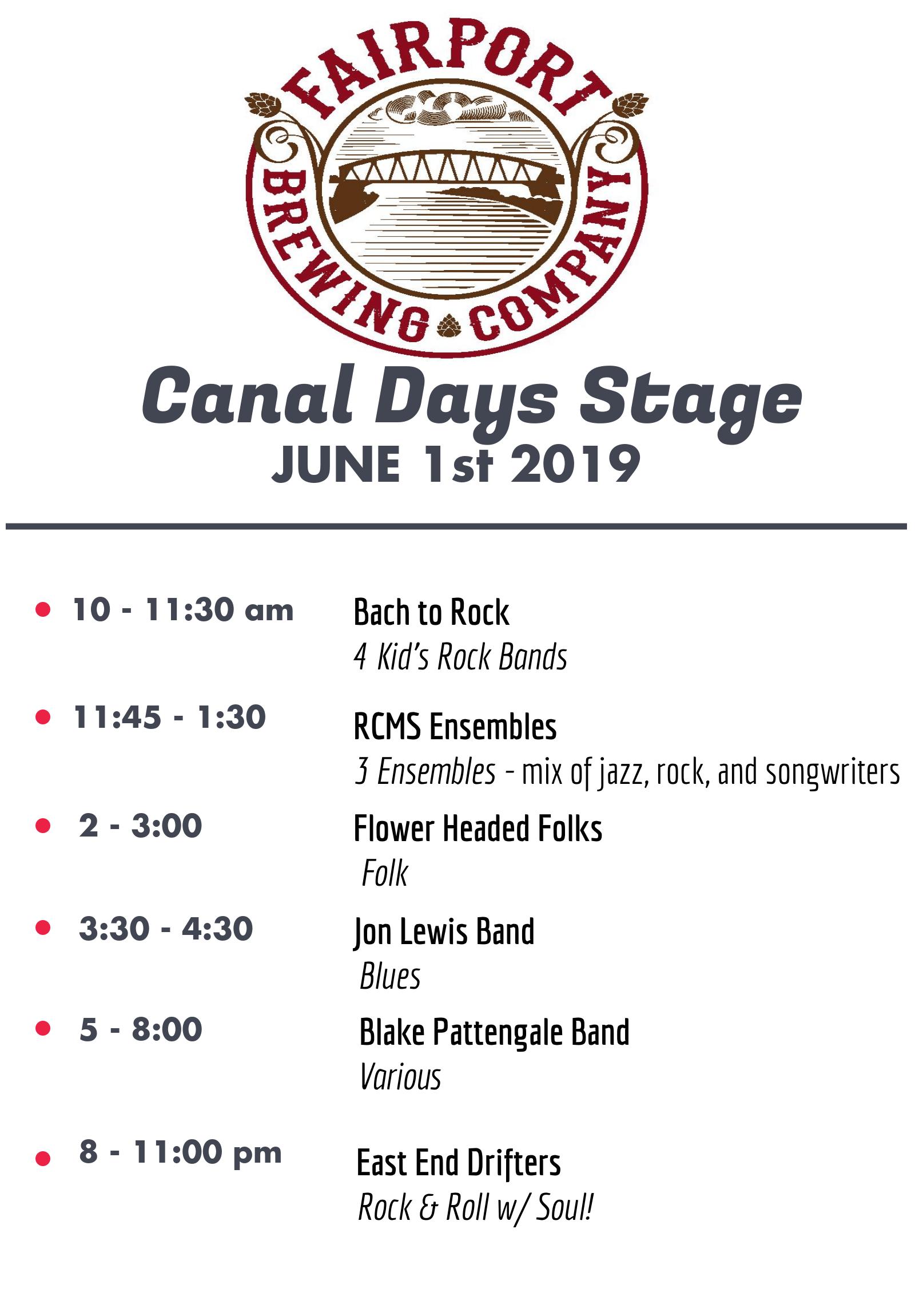 FBC's Canal Days Stage - Saturday!