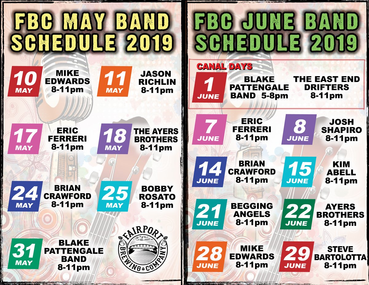 Fairport Taproom's Summer Band Schedule