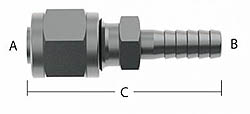"""Compression to Barb Fitting - 1/4"""" Tube Size to 1/4"""" Barb"""