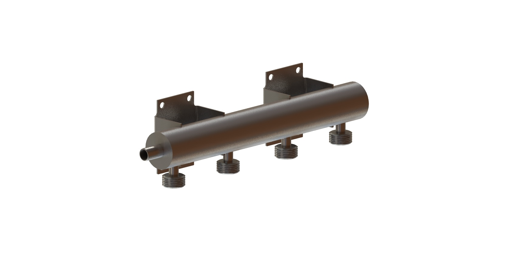 S/S Four Product Horizontal Mount Flooded Beverage Manifold (Beer Thread)