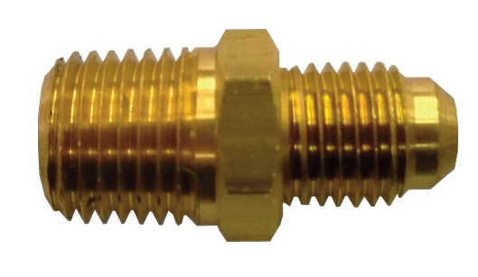 """1/4"""" X 1/4"""" Brass Male Flare X LEFT HAND Male Pipe Thread Union - With Check Valve"""