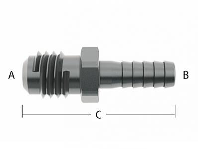 "S/S 1/4"" Barb X 3/8"" MF Fitting"