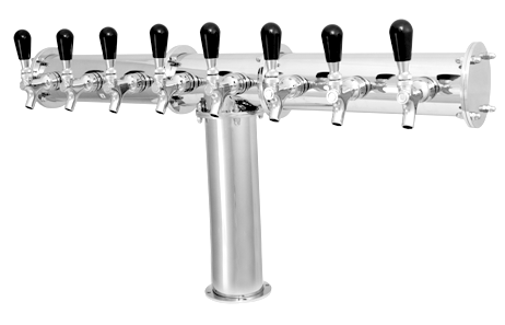 """8 Tap Chrome Finished Terra Style """"T"""" Glycol Tower With Decorative Flanges"""