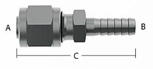 """Compression to Barb Fitting - 3/8"""" Tube Size to 3/8"""" Barb"""