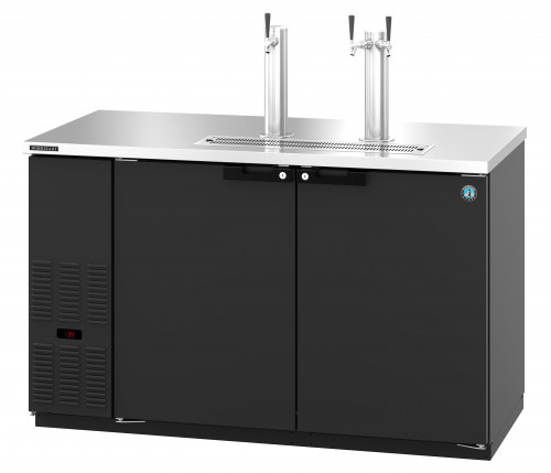 HDD-2-59, Refrigerator, Two Section, Black Vinyl Back Bar Direct Draw, Solid Doors