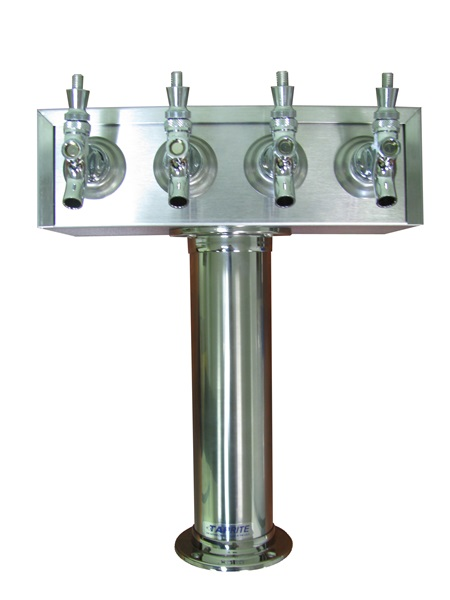 """Wine Draft Tower, 3"""" Diameter Four Faucet """"T"""" Tower"""