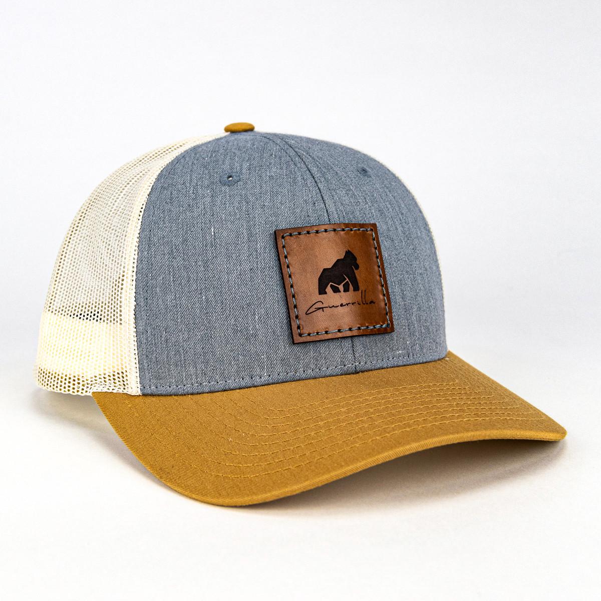 Grey/Beige Leather Guerrilla Hat