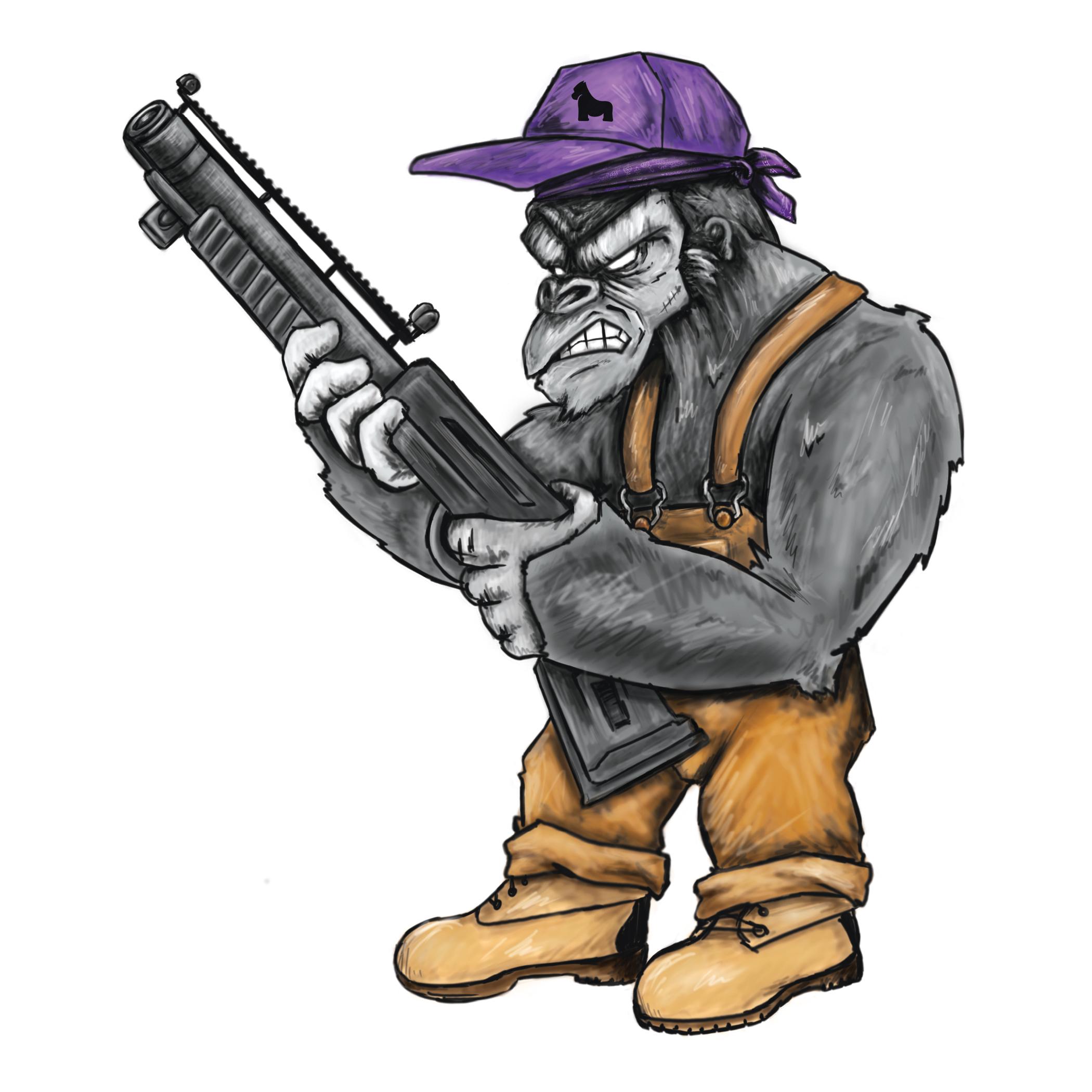 Gorilla Shotgun Sticker