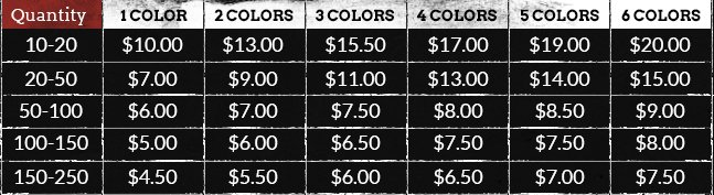 Custom screen printing price chart