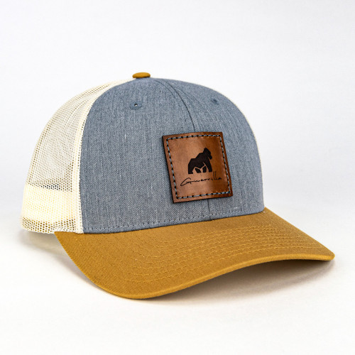 Grey/Beige Leather Guerrilla Hat