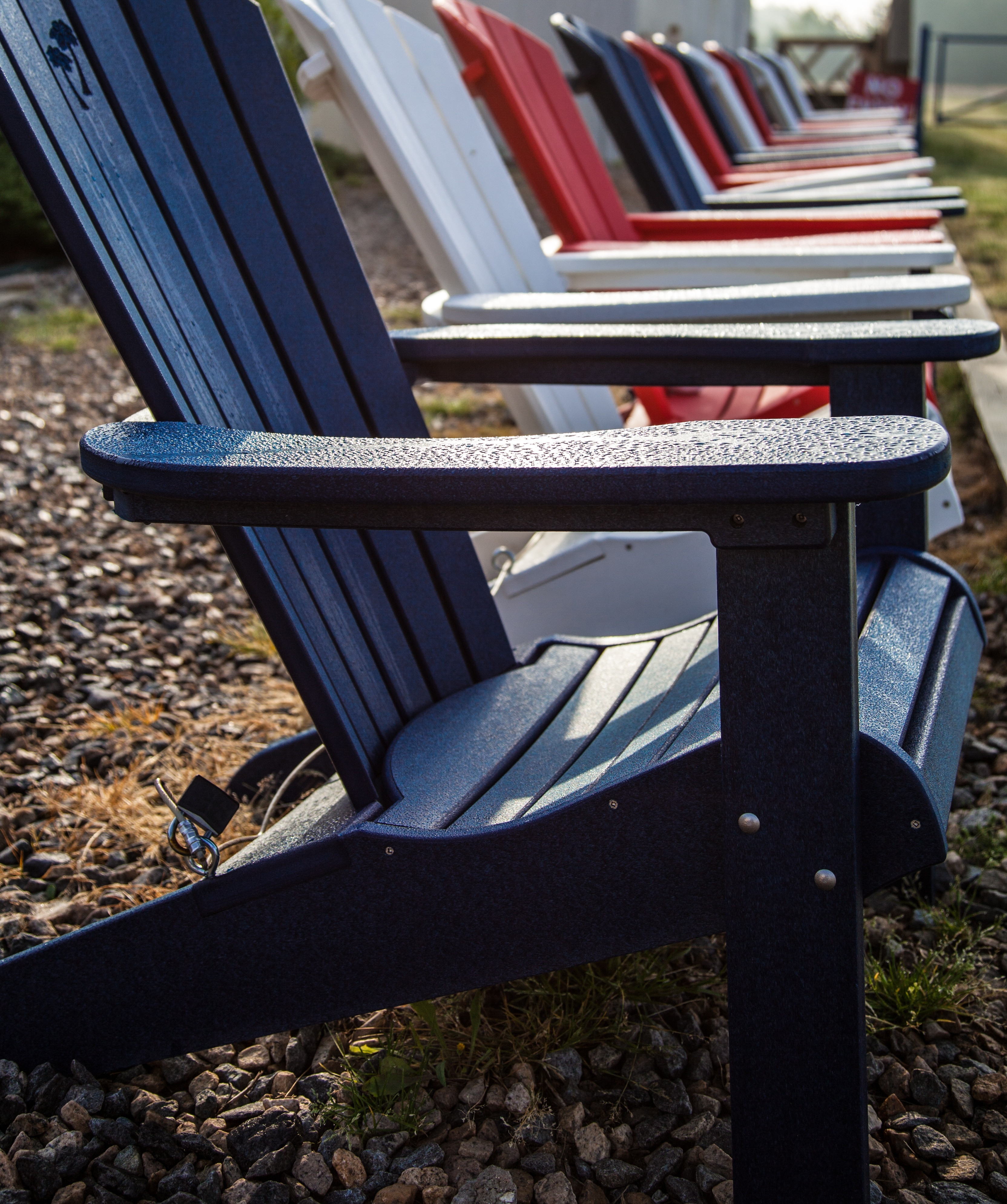 Brightly Colored Poly-Lumber Adirondack Chairs