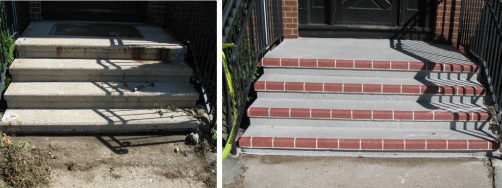 Concrete Step Resurfacing Before and After