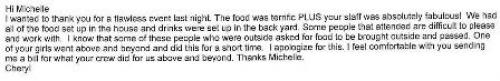 Catering Testimonial