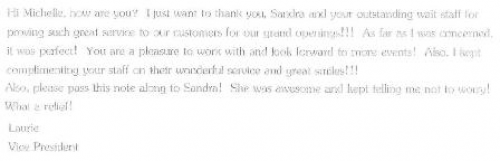 Catering Reference Letter