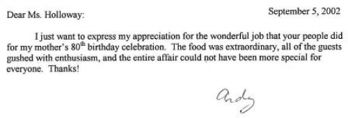 Caterer Positive Review Letter