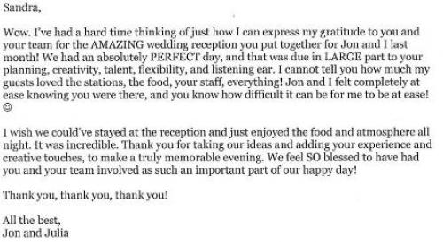 Catering Testimonial Letter