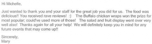 Positive Catering Letter