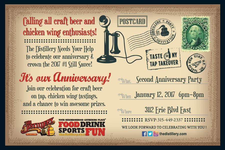 The Distillery's 2nd Anniversary in Syracuse Invitation
