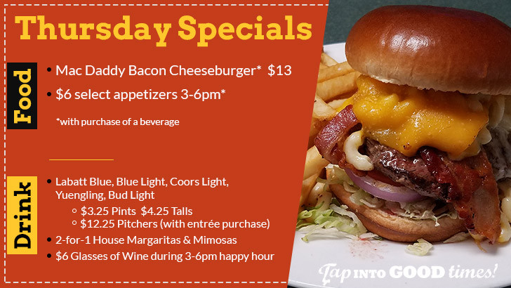 Thursday Food & Drink Specials at The Distillery