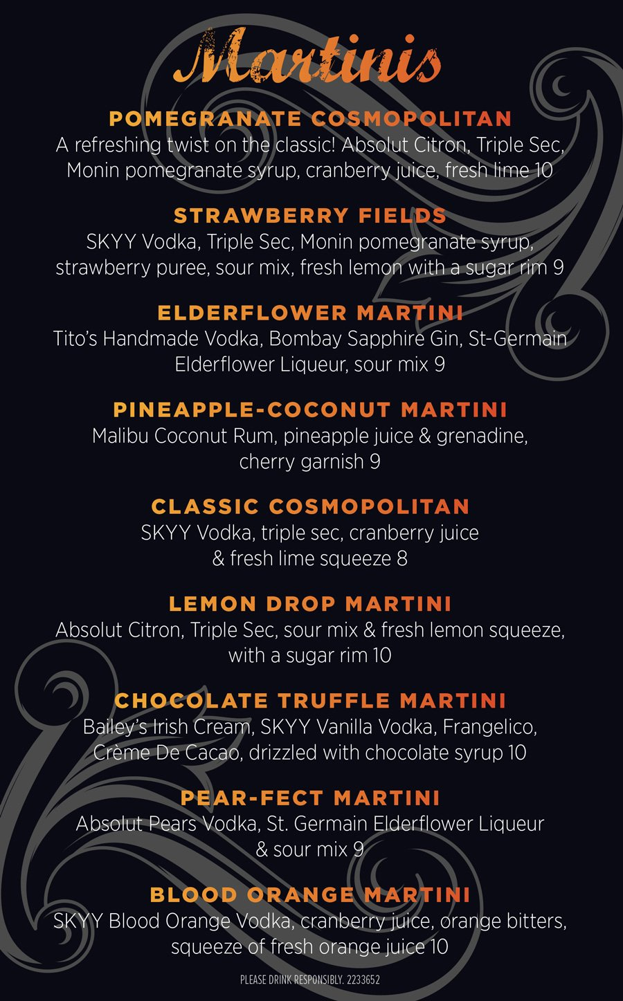 Martini Menu at The Distillery Restaurant