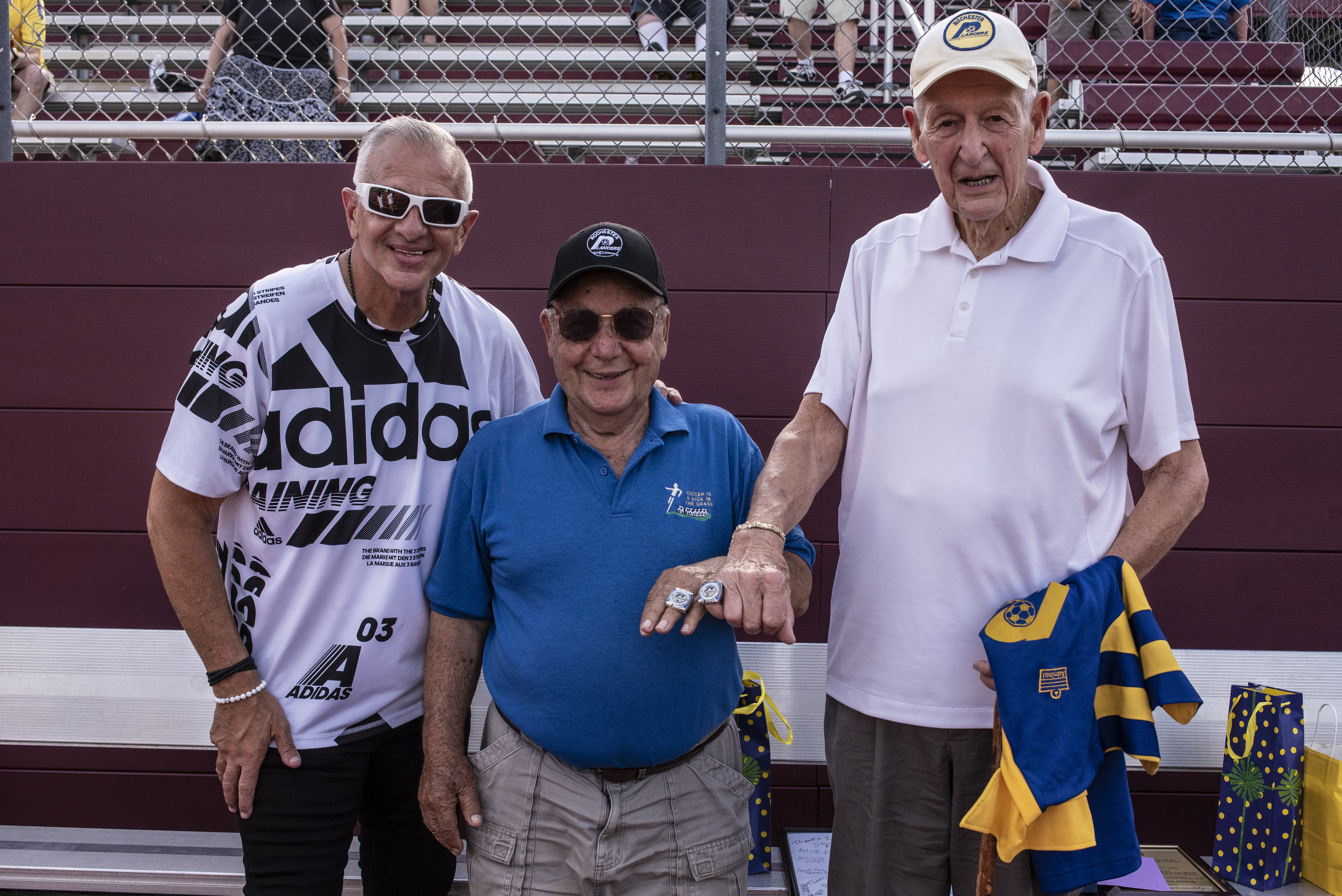 SURPRISE!: Former Lancers owner Schiano, Sirianni are presented 1970 championship rings