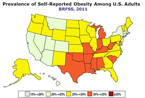 US map of obesity