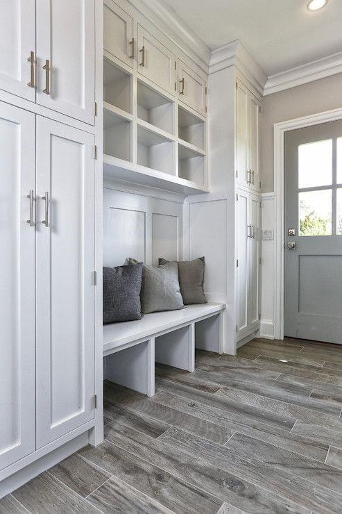 custom designed mud room cabinets