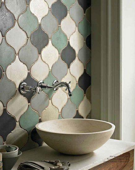arabesque bathroom tile backsplash