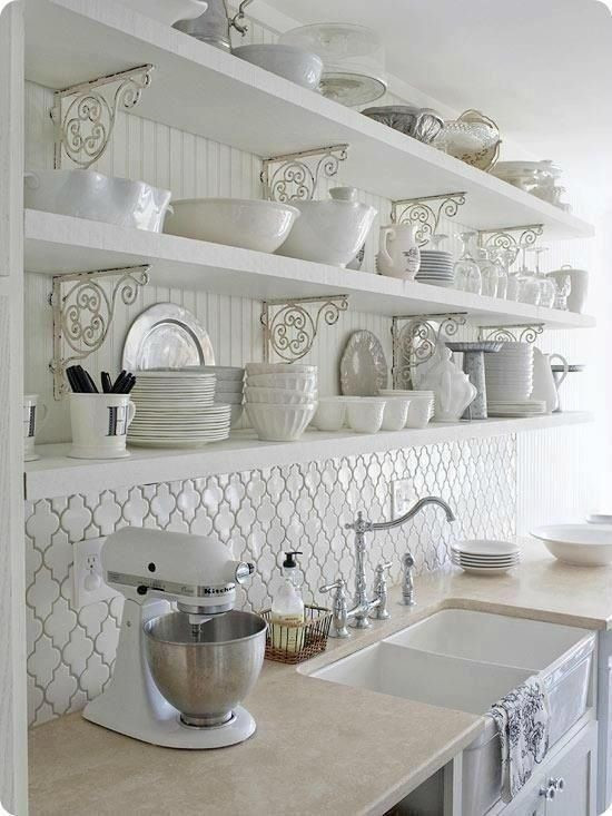 Arabesque kitchen tile backsplash