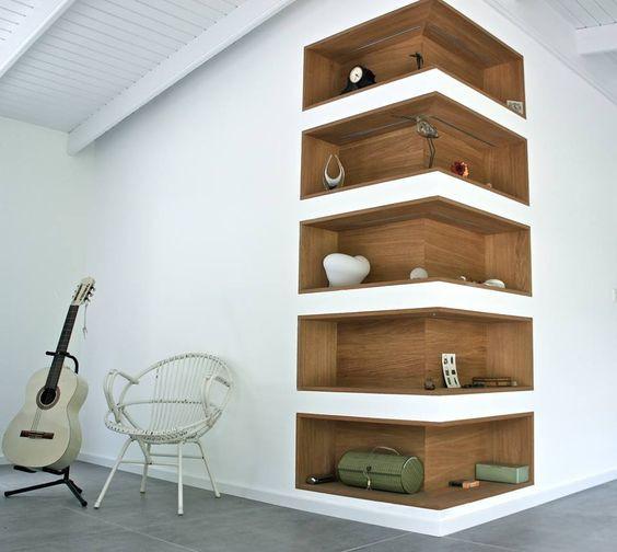 custom built in corner shelving niche