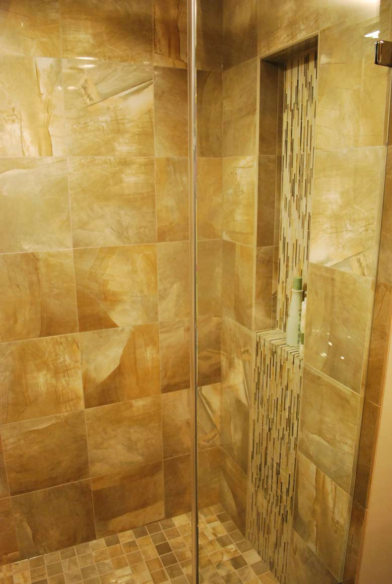 Tile Waterfall in Asian Inspired Bathroom