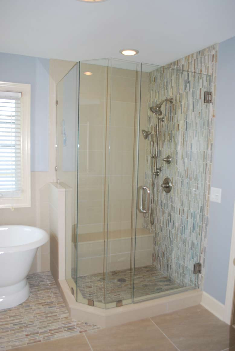 Tile Waterfall in Shower using Stone Tile