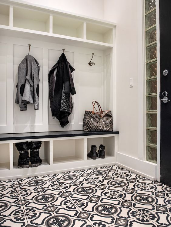 Cement Tile in the Mudroom