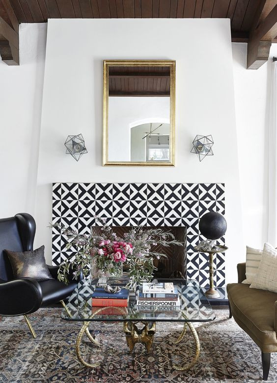 Cement Tile on Fireplace
