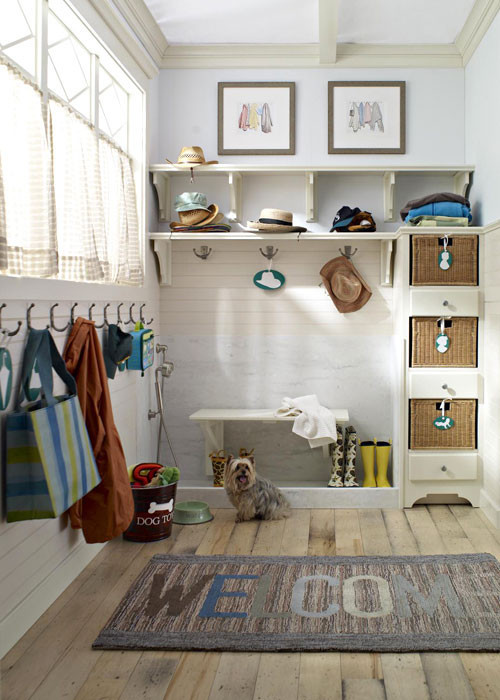 mudroom with dog shower
