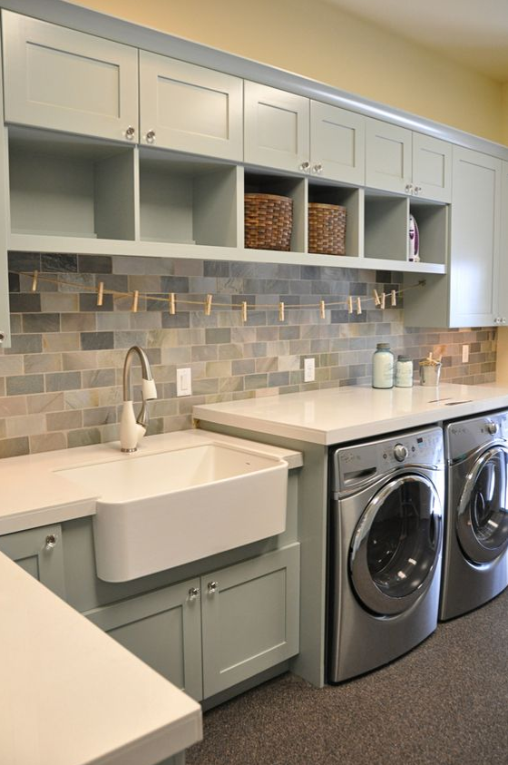 mudroom and laundry room combine