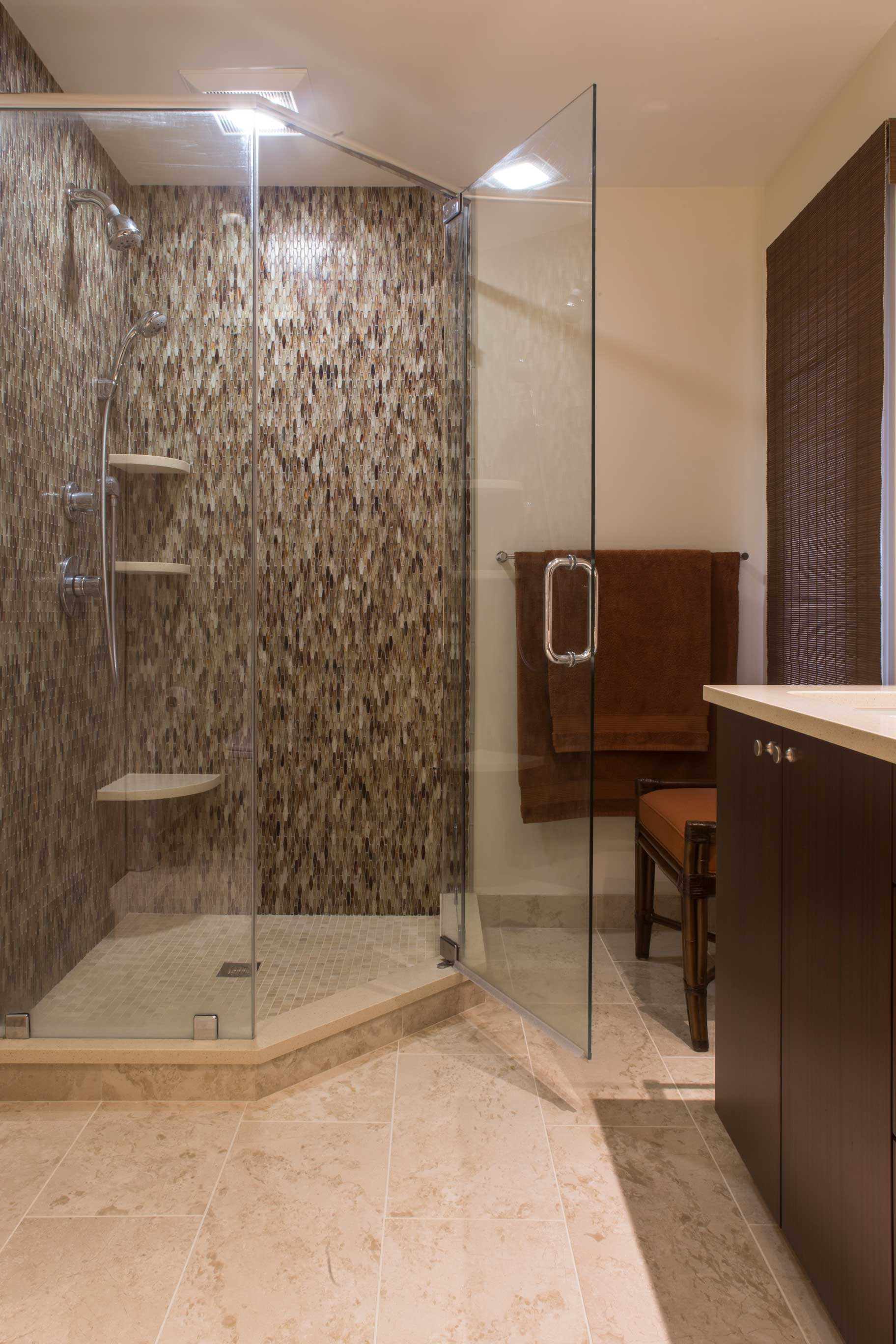 Tile Waterfall in Natural Elements Bathroom Design