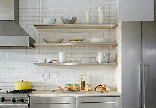 stainles steel kitchen open shelving