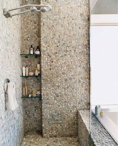 Shower with Stone Tile