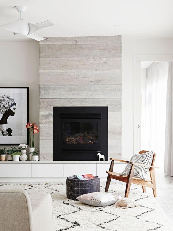 tile that looks like wood on fireplace