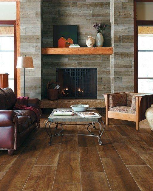 wood tile on fireplace