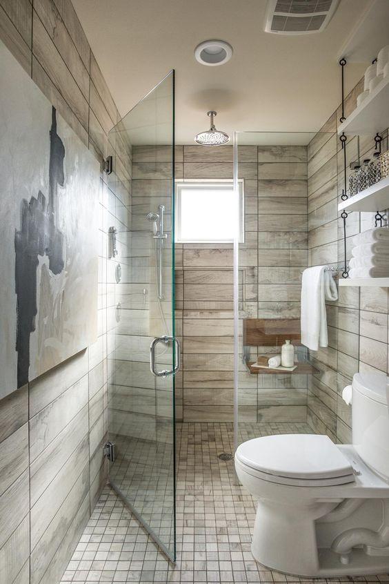 wood tile on bathroom walls