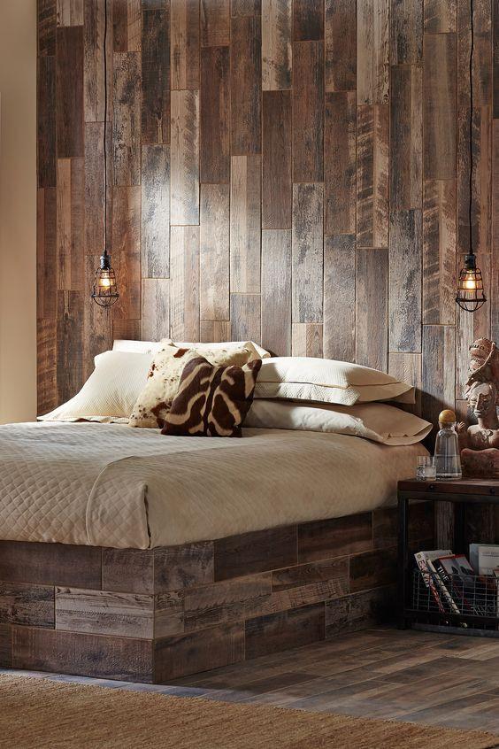tile that looks like wood on bedroom walls