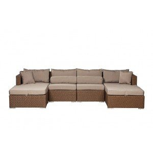 Teagarden Outdoor Wicker Sectional Set