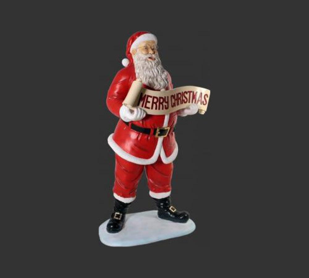Santa with Merry Christmas Banner - Standing 5 feet high