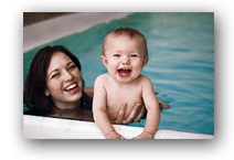 Woman & Baby in Hot Tub