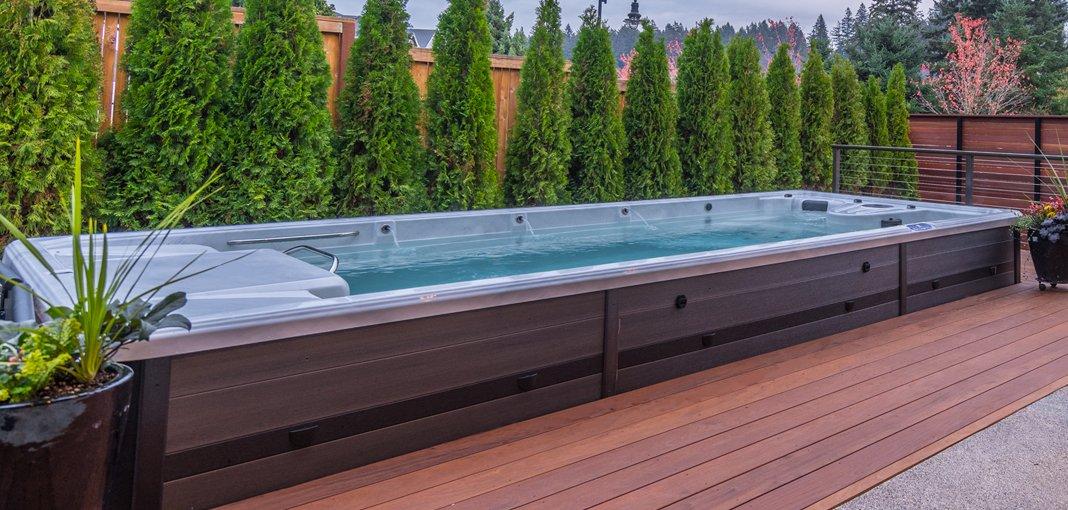 Silver Marble TruSwim Swim Spa with Grey Permawood