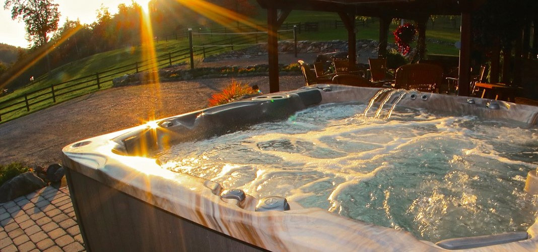PDC Spas hot tub sunset