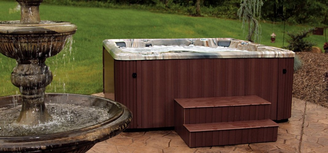 PDC Spas hot tub with fountain